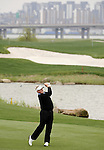 SUZHOU, CHINA - APRIL 15:  Colin Montgomerie of Scotland plays his approach shot on the 2nd hole during the Round One of the Volvo China Open on April 15, 2010 in Suzhou, China.  Photo by Victor Fraile / The Power of Sport Images