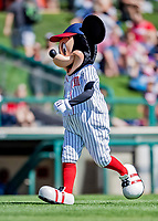 25 February 2019: Walt Disney iconic character Mickey Mouse entertains the fans prior to a pre-season Spring Training game between the Washington Nationals and the Atlanta Braves at Champion Stadium in the ESPN Wide World of Sports Complex in Kissimmee, Florida. The Braves defeated the Nationals 9-4 in Grapefruit League play in what will be their last season at the Disney / ESPN Wide World of Sports complex. Mandatory Credit: Ed Wolfstein Photo *** RAW (NEF) Image File Available ***