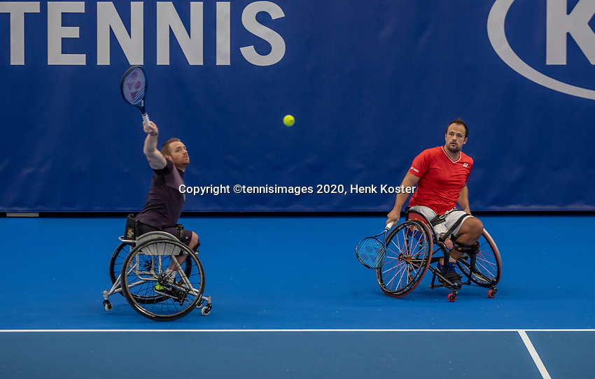 Amstelveen, Netherlands, 12  December, 2020, National Tennis Center, NTC, NKR, National   Indoor Wheelchair Tennis Championships, Men's Doubles Final : Tom Egberink (NED) and<br /> Maikel Scheffers (NED)<br /> Photo: Henk Koster/tennisimages.com