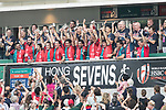 The Spanish Team celebrates winning against Germany during the Qualifiers Final as part of the HSBC Hong Kong Rugby Sevens 2017 on 09 April 2017 in Hong Kong Stadium, Hong Kong, China. Photo by Weixiang Lim / Power Sport Images