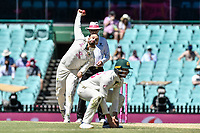 11th January 2021; Sydney Cricket Ground, Sydney, New South Wales, Australia; International Test Cricket, Third Test Day Five, Australia versus India; Nathan Lyon of Australia bowling