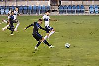 SAN JOSE, CA - OCTOBER 07: Paul Marie #33 of San Jose Earthquakes scores a goal during a game between Vancouver Whitecaps and San Jose Earthquakes at Earthquakes Stadium on October 07, 2020 in San Jose, California.