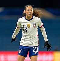 LE HAVRE, FRANCE - APRIL 13: Christen Press #23 of the USWNT looks to the ball during a game between France and USWNT at Stade Oceane on April 13, 2021 in Le Havre, France.