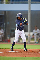 GCL Rays Abiezel Ramirez (2) at bat during a Gulf Coast League game against the GCL Pirates on August 7, 2019 at Charlotte Sports Park in Port Charlotte, Florida.  GCL Rays defeated the GCL Pirates 5-3 in the second game of a doubleheader.  (Mike Janes/Four Seam Images)