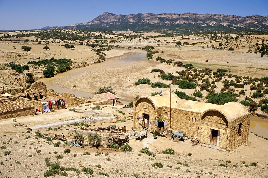 Tunisia, Le Kef.  Hammam Mellegue, Roman Era Baths on Left, Caretaker's House on Right.