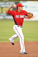 Potomac Nationals shortstop Stephen Perez (2) throws to first during a game against the Lynchburg Hillcats on April 26, 2014 at Pfitzner Stadium in Woodbridge, Virginia.  Potomac defeated Lynchburg 6-2.  (Mike Janes/Four Seam Images)