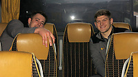 Photo: Richard Lane/Richard Lane Photography. Toulouse v Wasps.  European Rugby Champions Cup. 15/12/2018. Wasps' Marcus Garrett and Jack Willis on the back of the supporters coach.