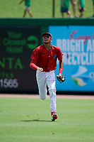 Clearwater Threshers right fielder Jose Pujols (23) tracks a fly ball during the first game of a doubleheader against the Lakeland Flying Tigers on June 14, 2017 at Spectrum Field in Clearwater, Florida.  Lakeland defeated Clearwater 5-1.  (Mike Janes/Four Seam Images)