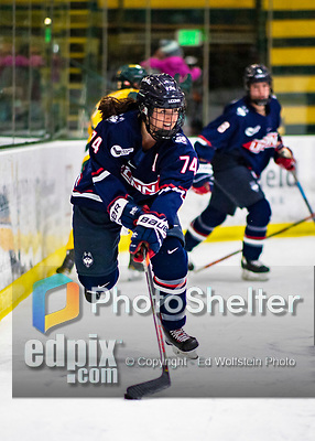 8 February 2020: University of Connecticut Husky Defender Emily Reid, a Senior from Whitby, Ontario, in second period action against the University of Vermont Catamounts at Gutterson Fieldhouse in Burlington, Vermont. The Huskies defeated the Lady Cats 4-2 in the first game of their weekend Hockey East series. Mandatory Credit: Ed Wolfstein Photo *** RAW (NEF) Image File Available ***