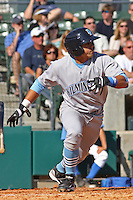 Fernando Garcia #15 of the Wilmington Blue Rocks hitting against the Myrtle Beach Pelicans on April 11, 2010  in Myrtle Beach, SC.