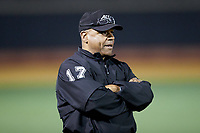 Third base umpire Gregory Street during the ACC baseball game between the Notre Dame Fighting Irish and the Wake Forest Demon Deacons at David F. Couch Ballpark on March 10, 2019 in  Winston-Salem, North Carolina. The Fighting Irish defeated the Demon Deacons 8-7 in 10 innings in game two of a double-header. (Brian Westerholt/Four Seam Images)
