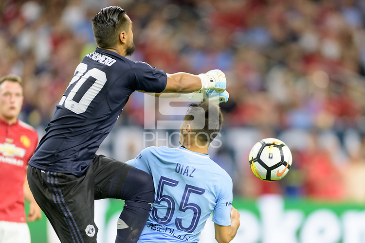Houston, TX - Thursday July 20, 2017: Sergio Romero and Brahim Diaz during a match between Manchester United and Manchester City in the 2017 International Champions Cup at NRG Stadium.