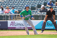 Hartford Yard Goats Max George (14) leads off first base during a game against the Somerset Patriots on September 12, 2021 at TD Bank Ballpark in Bridgewater, New Jersey.  (Mike Janes/Four Seam Images)