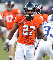 CHARLOTTESVILLE, VA- NOVEMBER 12: Cornerback Rijo Walker #27 of the Virginia Cavaliers on the field during the game against the Duke Blue Devils on November 12, 2011 at Scott Stadium in Charlottesville, Virginia. Virginia defeated Duke 31-21. (Photo by Andrew Shurtleff/Getty Images) *** Local Caption *** Rijo Walker