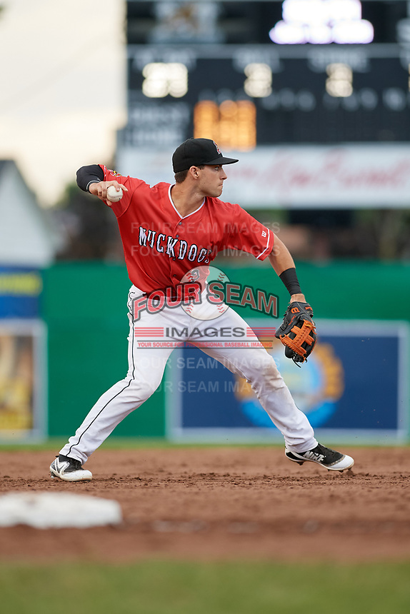 Batavia Muckdogs third baseman Denis Karas (9) throws to first base during a game against the West Virginia Black Bears on June 19, 2018 at Dwyer Stadium in Batavia, New York.  West Virginia defeated Batavia 7-6.  (Mike Janes/Four Seam Images)