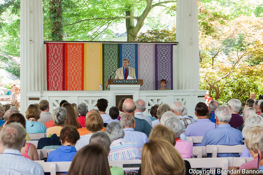 John Shelby Spong gave a week of Interfaith lectures  in the  Hall of Philosophy. Spong was the Episcopal Bishop of Newark, New Jersey, for 24 years and lectures regularly at Chautauqua. Chautauqua, NY. June 27, 2014. Photo by Brendan Bannon