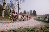 Amy Pieters (NED/Boels-Dolmans) leading the peloton through the Plugstreets. <br /> <br /> 8th Gent-Wevelgem In Flanders Fields 2019 <br /> Elite Womens Race (1.WWT)<br /> <br /> One day race from Ypres (Ieper) to Wevelgem (137km)<br /> ©JojoHarper for Kramon