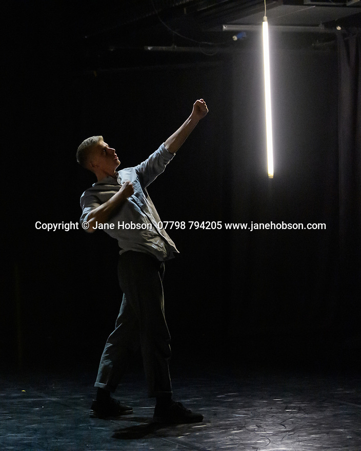 """Leeds, UK. 03.12.2019. Second Year students of BA (Hons) Dance (Contemporary), at the Northern School of Contemporary Dance, present work as part of NEW GROUND, in the Riley Theatre. This piece is: """"People are very good and very bad"""" by choreographer Barnaby Booth. Lighting design is by Barnaby Booth, with costume design by Melissa Burton. The dancers are: Nora Ellevold Aas, George Bishop, Naomi Chockler, Alexander Gosmore, Kate Hooley, Isla Hurst, Niamh Keady, Alexandra McPherson, Elliot Mayne, Tammy Tsz Tsing Tsang. Photograph © Jane Hobson."""