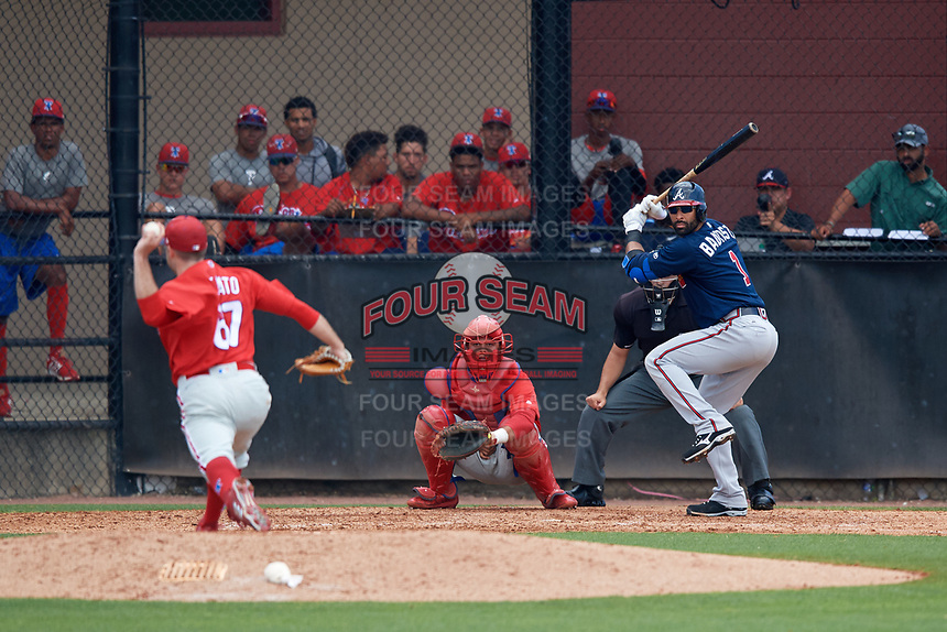 Atlanta Braves third baseman Jose Bautista (1) awaits the pitch from Joey DeNato (67) in front catcher Nerluis Martinez (11) and umpire Tom Fornarola during a Minor League Extended Spring Training game against the Philadelphia Phillies on April 20, 2018 at Carpenter Complex in Clearwater, Florida.  (Mike Janes/Four Seam Images)