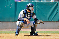 Catcher Gary Sanchez (35) of the Trenton Thunder warms up between innings during a game against the New Britain Rock Cats at New Britain Stadium on May 7, 2014 in New Britain, Connecticut.  Trenton defeated New Britain 6-4.          (Gregory Vasil/Four Seam Images)