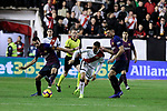 Rayo Vallecano's Oscar Guido Trejo and FC Barcelona's Sergio Busquets during La Liga match between Rayo Vallecano and FC Barcelona at Vallecas Stadium in Madrid, Spain. November 03, 2018. (ALTERPHOTOS/A. Perez Meca)