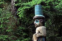 Top portion of Yaadaas Crest Corner Pole, Sitka National Historical Park, Sika, Alaska.