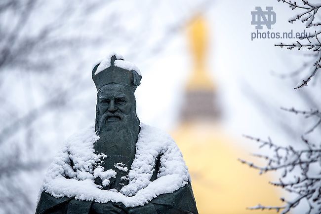 Feb. 25, 2016; Sorin statue after a snowfall (Photo by Matt Cashore/University of Notre Dame)