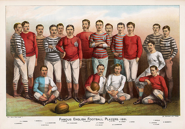 Leading England football players wearing a variety of shirts line up for a team picture.     Date: 1881     Source: Unnamed artist in 'Boy's Own Paper' 1882 page 145.