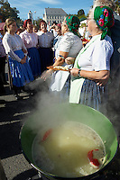 Women fron Nagrecse in traditional dress making Dodolle ( Dödölle ) - Hungarian Regional Gastronomic Festival 2009 - Gyor ( Gy?r ) Hungary