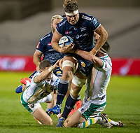 20th November 2020; AJ Bell Stadium, Salford, Lancashire, England; English Premiership Rugby, Sale Sharks versus Northampton Saints;  Jono Ross(C) of Sale Sharks is tackled by two Saints players