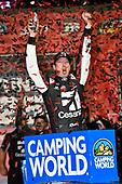 NASCAR Camping World Truck Series<br /> Toyota Tundra 250<br /> Kansas Speedway, Kansas City, KS USA<br /> Friday 12 May 2017<br /> Kyle Busch, Cessna Toyota Tundra celebrates his win in Victory Lane<br /> World Copyright: Nigel Kinrade<br /> LAT Images<br /> ref: Digital Image 17KAN1nk07141