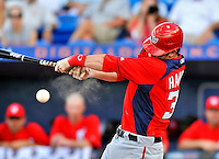 28 February 2011: Washington Nationals' outfielder Bryce Harper in his first major-league at bat during a Spring Training game against the New York Mets at Digital Domain Park in Port St. Lucie, Florida. The Nationals defeated the Mets 9-3 in Grapefruit League action. Mandatory Credit: Ed Wolfstein Photo