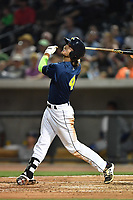 Outfielder Gene Cone (9) of the Columbia Fireflies hits in a game against the Lexington Legends on Friday, April 21, 2017, at Spirit Communications Park in Columbia, South Carolina. Columbia won, 5-0. (Tom Priddy/Four Seam Images)