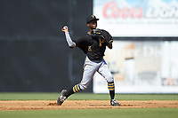 Bristol Pirates shortstop Victor Ngoepe (5) makes a throw to first base against the Danville Braves at American Legion Post 325 Field on July 1, 2018 in Danville, Virginia. The Braves defeated the Pirates 3-2 in 10 innings. (Brian Westerholt/Four Seam Images)