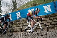 Belgian National Champion Dries De Bondt (BEL/Alpecin-Fenix) up the Kapelmuur / Muur van Geraardsbergen<br /> <br /> 76th Omloop Het Nieuwsblad 2021<br /> ME(1.UWT)<br /> 1 day race from Ghent to Ninove (BEL): 200km<br /> <br /> ©kramon