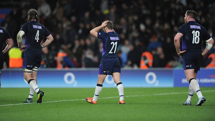 Greig Laidlaw of Scotland is dejected after England scrape a late draw 38-38 in the Guinness Six Nations Calcutta Cup match between England and Scotland at Twickenham Stadium on Saturday 16th March 2019 (Photo by Rob Munro/Stewart Communications)