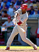 23 September 2007: Philadelphia Phillies shortstop Jimmy Rollins in action against the Washington Nationals at Robert F. Kennedy Memorial Stadium in Washington, DC. The Nationals defeated the visiting Phillies 5-3 to close out the 2007 home season and the final game in baseball history at RFK Stadium. The Nationals will open up the 2008 season at Nationals Park, their new facility currently under construction.. .Mandatory Photo Credit: Ed Wolfstein Photo