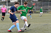 Bertie Fish of the Wairarapa United competes for the ball with Riley Manuel of the North Wellington FC during the Central League Football -  North Wellington FC v Wairarapa United at Alex Moore Park ( Alex Moore Artificial), Johnsonville, New Zealand on Saturday 29 May 2021.<br /> Copyright photo: Masanori Udagawa /  www.photosport.nz
