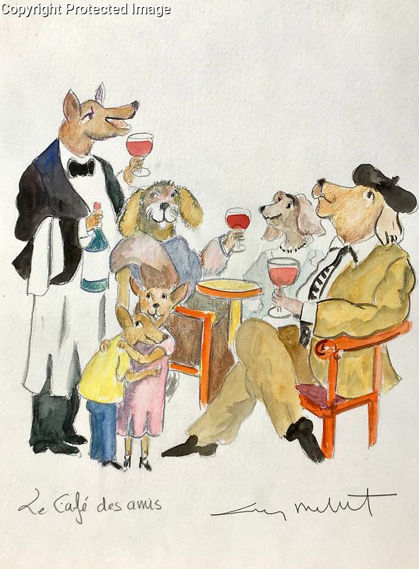 """Le Cafe des Amis""<br /> 15x11 ORIGINAL Watercolor on Paper<br /> $1,750"