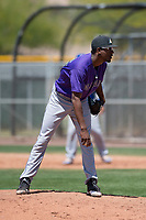 Colorado Rockies relief pitcher Derrik Watson (56) looks to his catcher for the sign during an Extended Spring Training game against the Chicago Cubs at Sloan Park on April 17, 2018 in Mesa, Arizona. (Zachary Lucy/Four Seam Images)