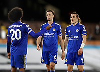 3rd February 2021; Craven Cottage, London, England; English Premier League Football, Fulham versus Leicester City; Jonny Evans of Leicester City talking to Hamza Choudhury of Leicester City