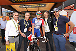 Groupama-FDJ riders mingle with guests including Stephane Auge in the Tour Village before Stage 3 of the 2019 Tour de France running 215km from Binche, Belgium to Epernay, France. 8th July 2019.<br /> Picture: ASO/Olivier Chabe | Cyclefile<br /> All photos usage must carry mandatory copyright credit (© Cyclefile | ASO/Olivier Chabe)