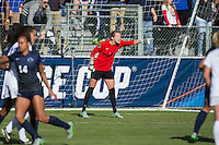 Cary, North Carolina - Sunday December 6, 2015: Britt Eckerstrom (28) of the Penn State Nittany Lions yells instructions to her teammates during second half action against the Duke Blue Devils at the 2015 NCAA Women's College Cup at WakeMed Soccer Park.  The Nittany Lions defeated the Blue Devils 1-0.