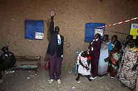 A voter raises his hand to show that he has voted in the referendum in Juba, South Sudan. On 9th January 2011 Southern Sudan's people voted in a referendum on whether to become independent from the North..