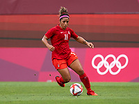 KASHIMA, JAPAN - AUGUST 2: Desiree Scott #11 of Canada controls the ball during a game between Canada and USWNT at Kashima Soccer Stadium on August 2, 2021 in Kashima, Japan.