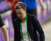 ORLANDO CITY, FL - FEBRUARY 18: Canada head coach Bev Priestman leaves the field at halftime during a game between Canada and USWNT at Exploria stadium on February 18, 2021 in Orlando City, Florida.