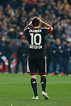 Bayer 04 Leverkusen´s Calhanoglu misses a goal during penalty shootouts at the UEFA Champions League round of 16 second leg match between Atletico de Madrid and Bayer 04 Leverkusen at Vicente Calderon stadium in Madrid, Spain. March 17, 2015. (ALTERPHOTOS/Victor Blanco)