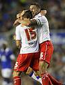 Luke Freeman of Stevenage is congratulated by Jon Ashton of Stevenage after scoring<br />  - Everton v Stevenage - Capital One Cup Second Round - Goodison Park, Liverpool - 28th August, 2013<br />  © Kevin Coleman 2013
