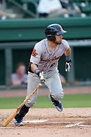 Second baseman Jonathan Aranda (8) of the Bowling Green Hot Rods during a game against the Greenville Drive on Wednesday, May 5, 2021, at Fluor Field at the West End in Greenville, South Carolina. (Tom Priddy/Four Seam Images)