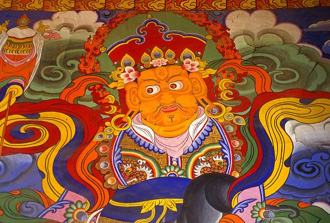 Wall painting in Ganden Sumtseling Monastery, Zhongdian, Yunnan Province, China, Asia